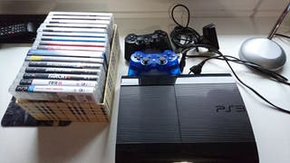 ps3 super slim 500 GB+2 mandos+16 juegos+ps3 eye.