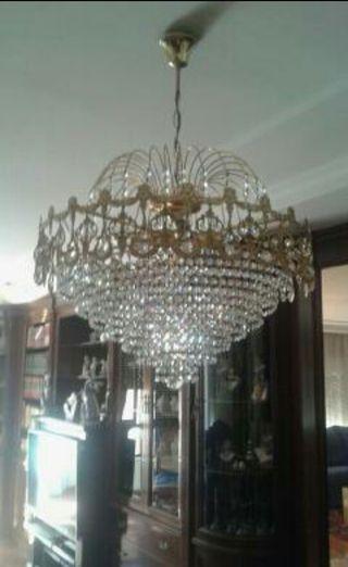 Lámpara y 3 apliques pared salón cristales de segunda mano
