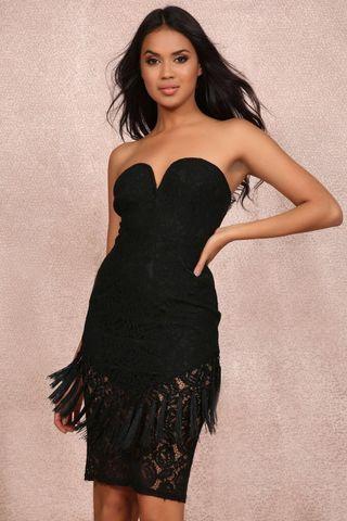 Black tassel lace dress
