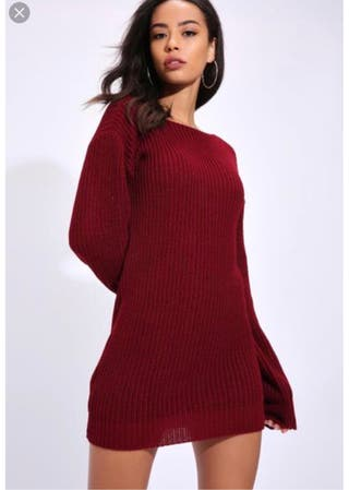Red slouch jumper dress