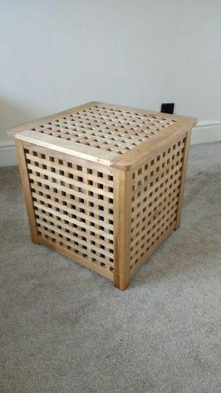 wooden laundry basket