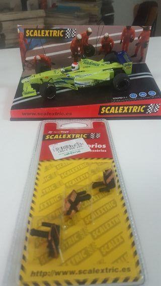 Coche Scalextric y escobillas nuevas