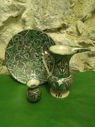 lote tres piezas de ceramica punter de teruel