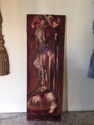 Cuadro vintage pintura en madera