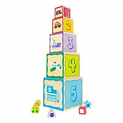 Torre 5 cubos madera 52 cm y 5 figuras geométricas