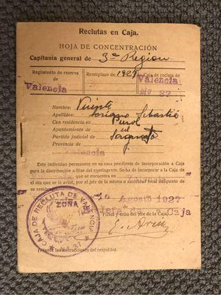 PUZOL(Valencia) Hoja de concentración. Agosto 1927