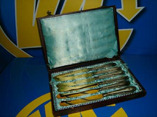 lote de 6 cuchillos bañados en plata, antigüedad