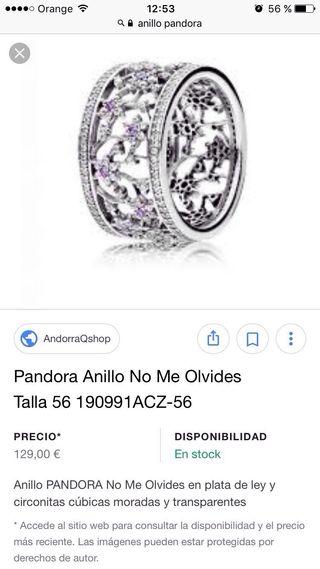 anillo no me olvides pandora