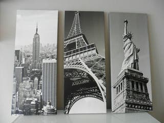 Cuadros Nueva York y París con bastidor