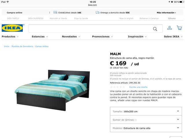 Cama Ikea Matrimonio Malm de segunda mano por 85 € en Palma de ...