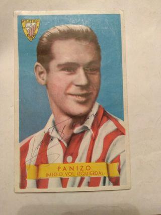 Cromo original Atl. Bilbao firmado por Panizo