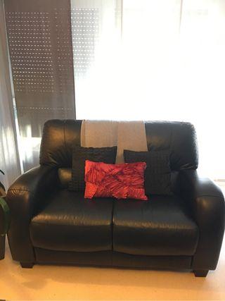Sofa Piel Negro Relax 3 plazas+ 2 plazas