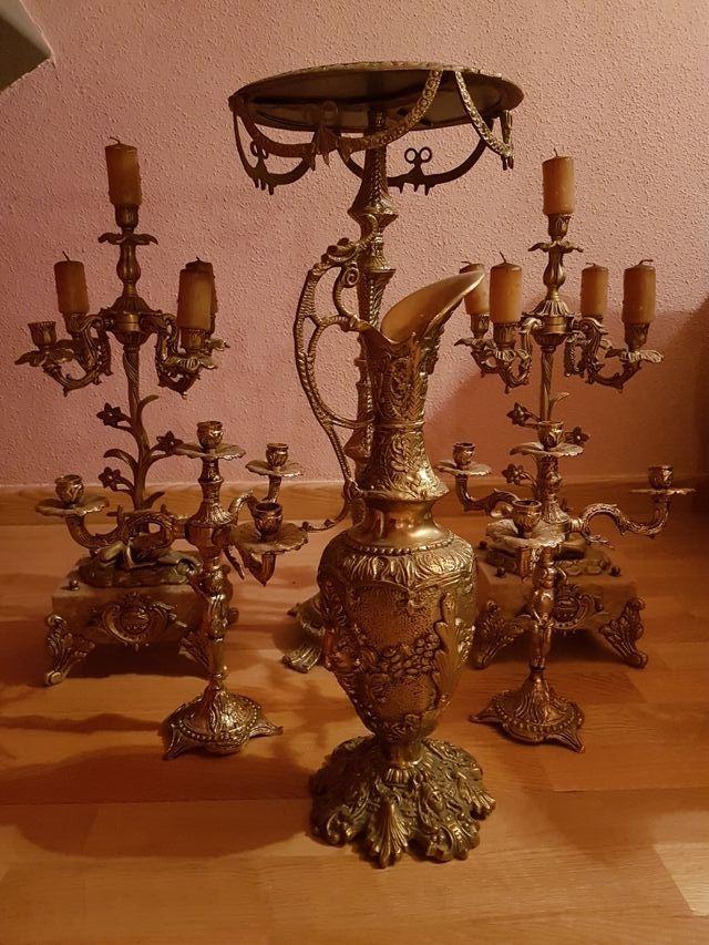 Juego de bronce y marmol