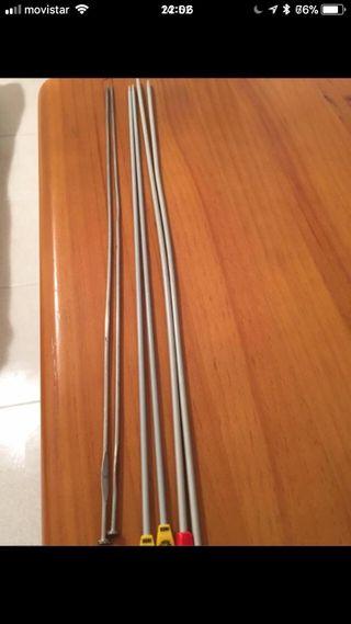 3 pares de agujas de tricotar