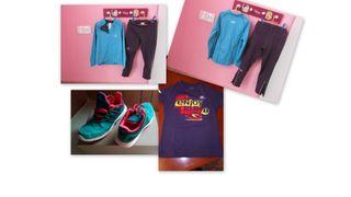lote RUNNING ATLETISMO NIÑO NIÑA zapatillas + ropa