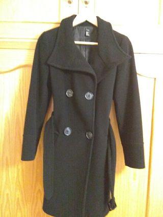 Abrigo zara paño negro talla 38