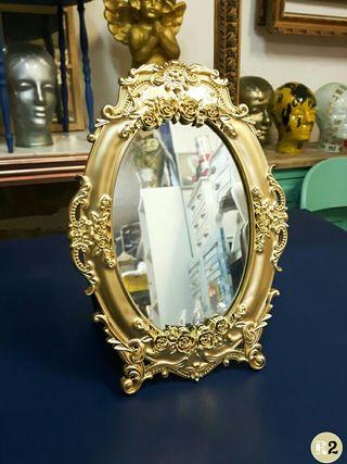 Espejo Barroco 32cm Alto Oro Tocador