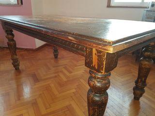 mesa de salon rustico grande