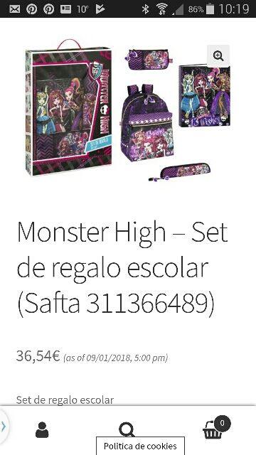 NUEVO Monster High mochila, estuche,archivador