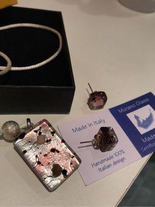 Conjunto collar + pendientes de Cristal Murano