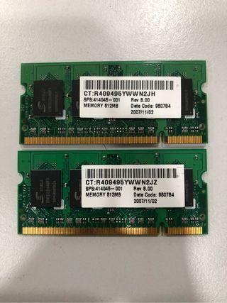 Memoria Ram 2 x 512MB (1 GB) DDR2 667MHz SODIMM.
