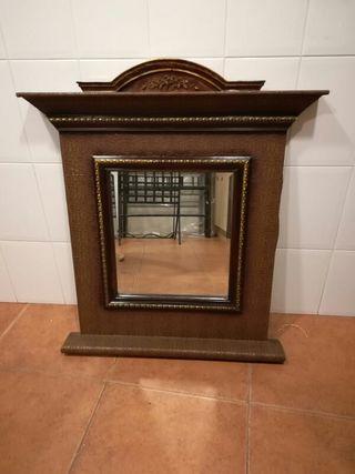 espejo de madera vitange