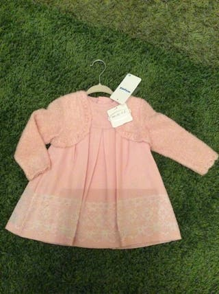 Baby girl mayoral soft pink dress with cardigan