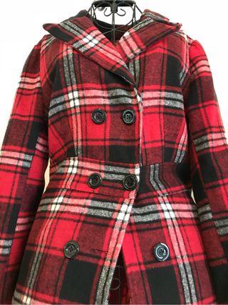 Por Cuadros Paño De Mano Abrigo Chaqueta Rojo Segunda 8 xfg40Swq
