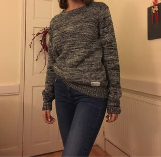 Adidas grey and white knitted sweater