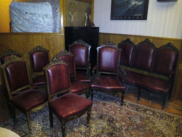 Conjunto sofá, sillas y sillones estilo isabelino