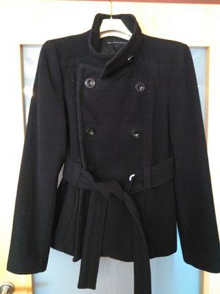 abrigo paño negro, xl, Zara básic