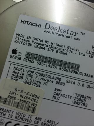 Disco duro sata apple