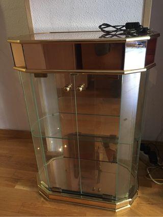 Mueble cristal vintage con luz recibidor vitrina