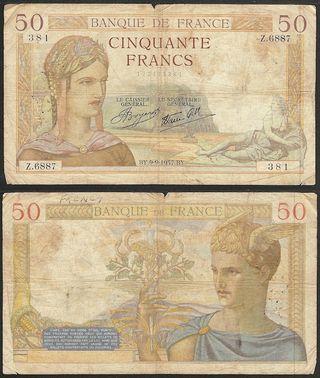 FRANCIA - 50 francs 1937 P# 85a - billete