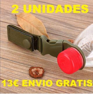 2 ganchos militar tactico botella agua