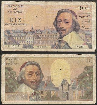 FRANCIA - 10 nouveau francs 1959 P# 142a - billete