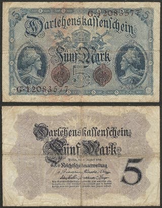 ALEMANIA - 5 mark 1914 P# 47c - billete