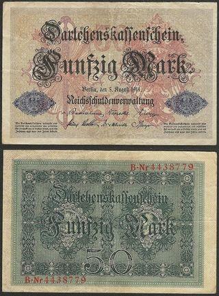 ALEMANIA - 50 mark 1914 P# 49b - billete