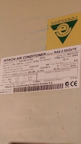 Placa aire acondicionado hitachi ras-2.5hgv7e
