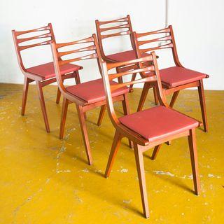 Conjunto de 5 sillas pies compás años 60. Vintage