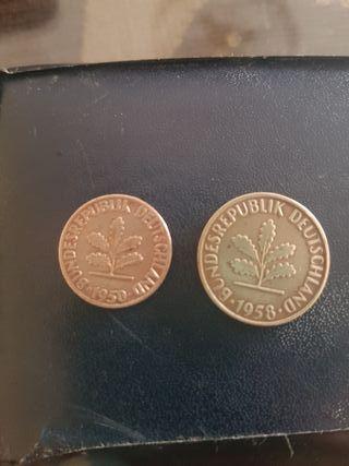 monedas 1pfenning+2pfenning 1950&1958