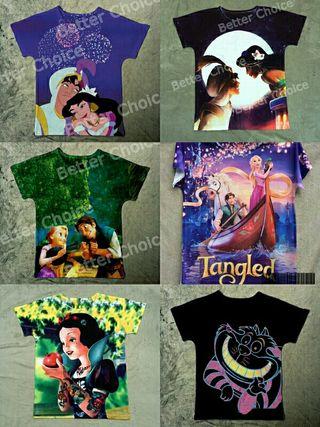 Camisetas Disney cartoons Alicia, Aladín,enredados segunda mano  España