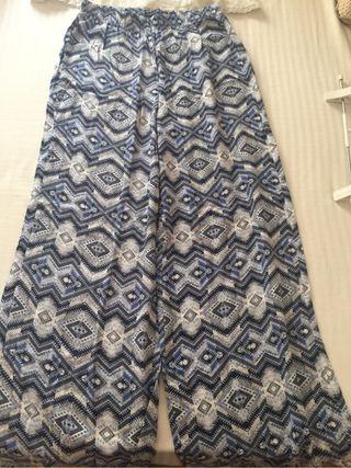 Blue peint wide leg trousers