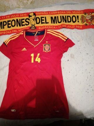 Camiseta de España talla M con bufanda con n
