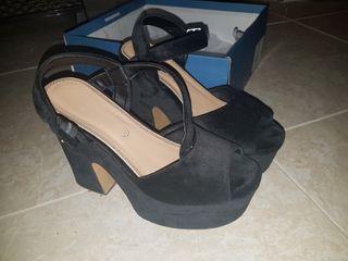 zapatos tacon ancho terciopelo marypaz