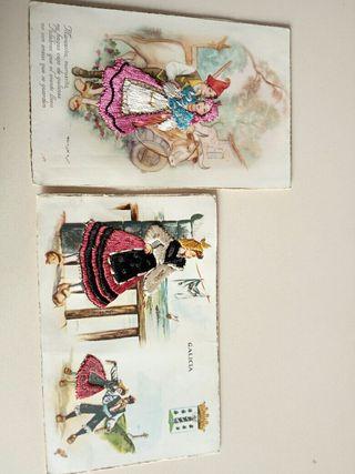 Postales bordadas años 50