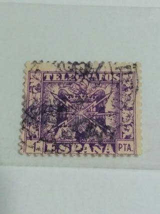 sello telegrafos lila 1 peseta