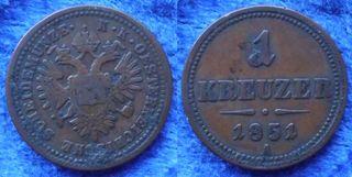 IMP AUSTRO-HÚNGARO - 1 kreuzer 1851 A KM# 2185