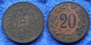 IMP AUSTRO-HÚNGARO - 20 heller 1918 KM#2826 moneda