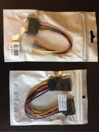 Cables SATA splitter y molex.